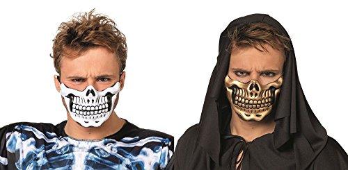 Wilbers Maske Halbmaske Skelett Totenkopf Gebiss Halloween Karneval weiß