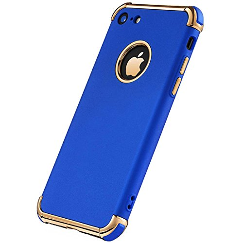 Tverghvad iPhone 7 Case, iPhone 8 Case, Ultra Thin Flexible Soft iPhone 8 Matte Case, Luxury 3 in 1 Slim Fit Electroplated Shockproof Phone Case for iPhone 7/ iPhone 8 (Royal Blue)
