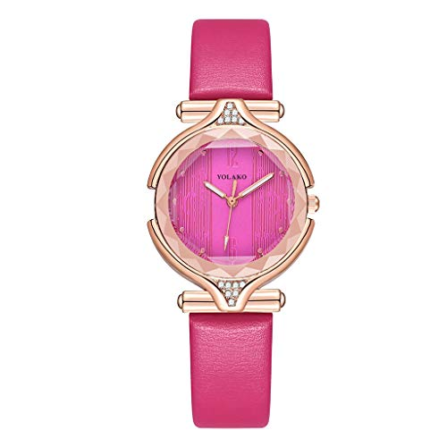 Shimigy YOLAKO Women's Casual Quartz Leather Band Newv Strap Watch Analog Wrist Watch (Hot Pink)