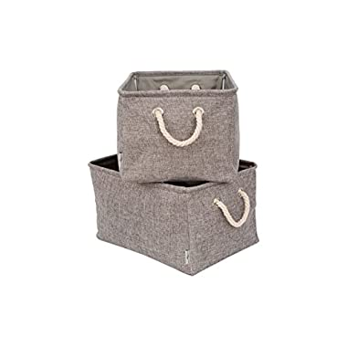 elize decor 2Pack Foldable Storage Bins Large 17 x11.5 x9.5  Gray Premium Quality Collapsible Fabric Baskets with Rope Handles for Home Office Closet Nursery