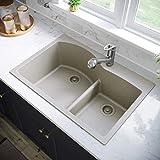 MR Direct T811-Slate Quartz Granite Kitchen Sink, Slate