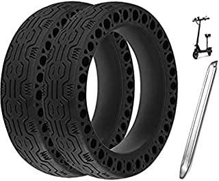 SKY-TOUCH 2Pcs For Mijia M365 10 Inch Electric Scooter Tire 10 x 2 No inflation Honeycomb Tire Tire With Crowbar (Black)