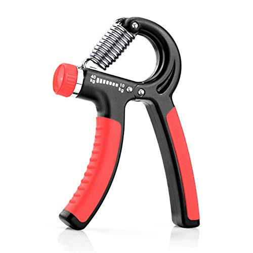 KOOLIFE Hand Grip Strengthener Hand Workout strengthening EquipmentGrip Exercise Trainer Hand Gripper Strengthen Exerciser with Adjustable Resistance Range 22 to 88 Lbs  Red