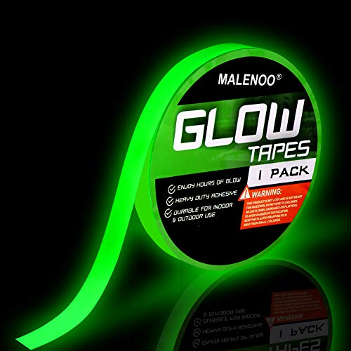 Glow in The Dark Tape 0.5 Inch x 16 ft Green Fluorescent Spike Sticker Continuous Luminous Tapes for Easter Theater Stage Party Wall Step Emergency Exit 8-10 Hours
