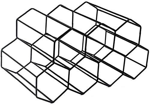 ASY Estante para Vino Independiente Portavasos para Vasos Exhibidor De Metal Cepillado Diseño Geométrico Estante para Bar Soporte para Botellas para Gabinetes Cocina Barra De Encimera