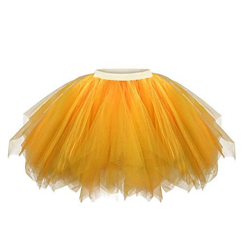 Kviklo Damen Elastische Taille Prinzessin Petticoat Mini Tutu Rock Tanzender Rock Mädchen Chiffon Sommer Unterrock(a Gelb,M)