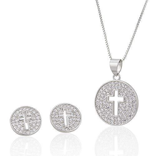 DSJTCH Pendientes Cruzados a Cielo Abierto Conjunto de Joyas Electroplating Platinum Simple Cientos de Pendientes tattales de niña Collar (Color : Silver)