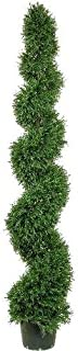 One 6 Foot Artificial Rosemary Spiral Topiary Tree Potted UV Rated