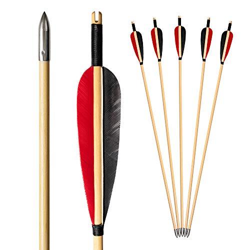 Arco - Freccette in legno per tiro ad arco, set da 12 pezzi, con punta in metallo, per arco compound frecce, frecce e arco per adulti
