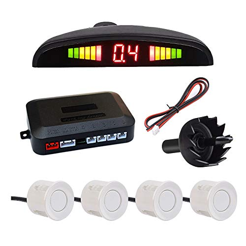 Sistema di sensori di parcheggio per auto IWILCS, sistema di sensori di parcheggio per auto con allarme retromarcia, sistema di sensori di parcheggio a 4 sensori, per furgone SUV, bianco