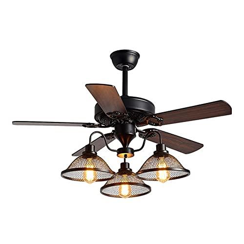 """Ventiladores para el Techo con Lámpara Luz de ventilador de techo industrial de 42""""/ 52"""" con 3 lámparas, ventilador de techo de control de cable con iluminación para sala de estar Ventilador para el"""