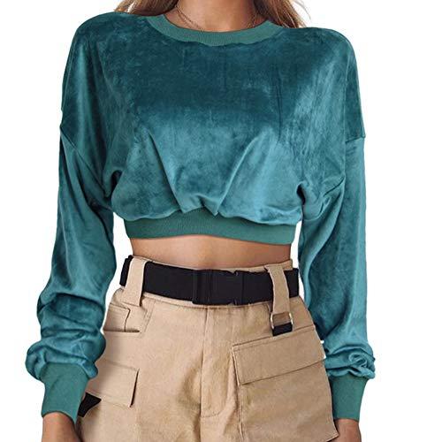 GUYUEQIQIN Women's Crop Hoodies, Velvet Pullover Long Sleeve Short Tops Crewneck Casual Sweatshirt(M,Green)