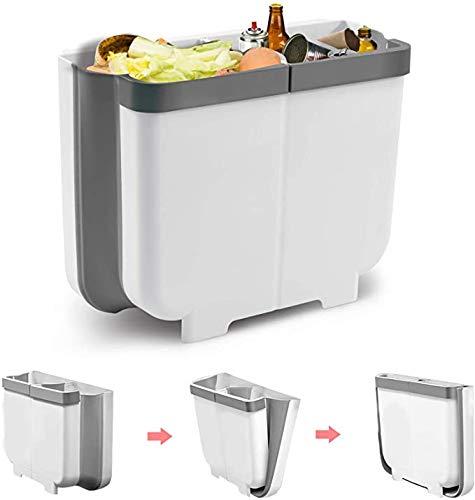 Queta Bote de Basura de Cocina Plegable, Cubo de Clasificación de Basura Cubo de Residuos de Cocina Contenedor Colgante de Basura de Pared para Gabinete Cocina Coche Oficina (Gris)