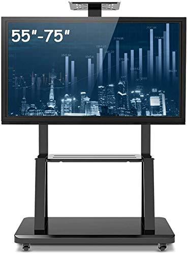Soporte TV Ruedas Soporte TV Suelo 55 pulgadas a 75 pulgadas del balanceo de TV Soporte con 2 bandejas, con articulación universal Carro for TV de pantalla plana, Negro de acero, carga 105kg