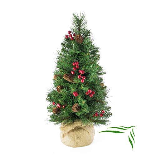 artplants.de Künstlicher Weihnachtsbaum BUKAREST, geschmückt, 80 Zweige, 60cm, Ø 35cm - Kunst Tannenbaum - Deko Christbaum