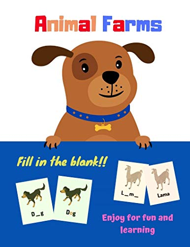 Vocabulary Flash Cards Cartoon Animals Farm: Fill in blank word kind of animal farm for Kids and Preschools for Learning & Skill Development (English Edition)