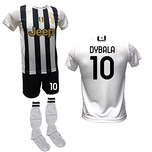 DND DI D'ANDOLFO CIRO Fußballtrikot weiß Home Paulo Dybala la Joya, Shorts mit Nummer 10 bedruckt und zugelassenen Stutzen Replica 2020-2021 Größen für Kinder und Erwachsene, weiß, 10 Jahre