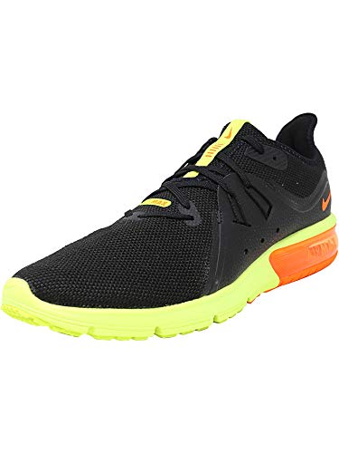 Nike Men's Air Max Sequent 3 Black/Total Orange - Volt Ankle-High Running Shoe 11.5M