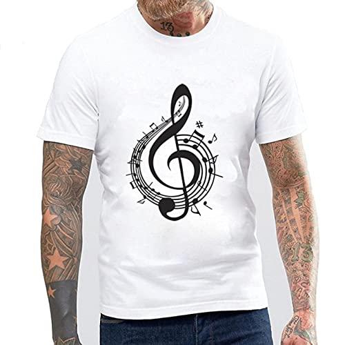 Astemdhj Camiseta de Manga Corta Camisa 3D Nueva Camiseta De Algodón para Hombre, Camiseta De Verano De Manga Corta con Símbolo Musical para Hombre, Tops Masculinos XS Musicalnote1
