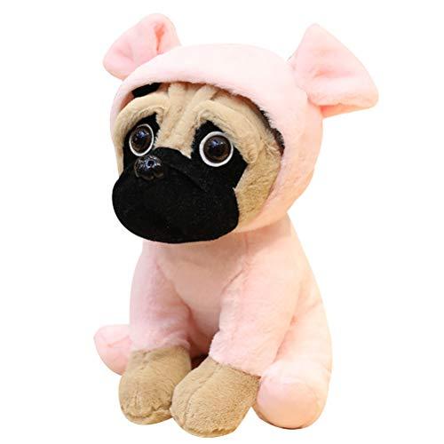 Deeabo Juguetes de Peluche de 20 Cm, Lindo Perro Pug Animal, Juguetes de Muñeca de Peluche Perros Cosplay Muñecas Cerdo Transformadas Muñeca Shar Pei para Regalo Cumpleaños Decoración del Hogar, Rosa