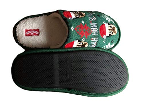 Mens Christmas Slipper Santa Bum Hum Pug Dog Slip on House Bed (Large Fits Shoe Size11-12) Green