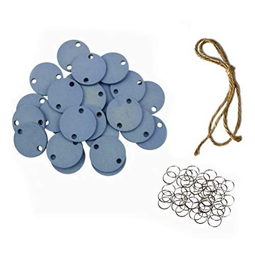 Vosarea 50 Stück rund aus Holz mit Löchern und 50 Ringe aus Eisen und 1 Schnur, Blau