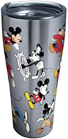 Tervis 1297811 Disney Mickey Mouse 90th Birthday Stainless Steel Insulated Tumbler with Clear and Black Hammer Lid, 20 oz, Silver