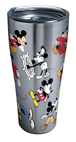 Tervis 1297812 Disney Mickey Mouse 90th Birthday Stainless Steel Insulated Tumbler with Clear and Black Hammer Lid, 30 oz, Silver