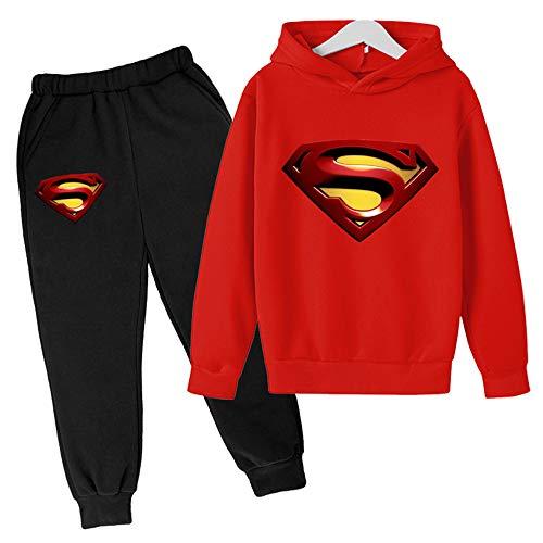 Proxiceen Sudadera con capucha de Superman Anime 3D Cosplay, manga larga, estampado gráfico y pantalón de jogging, sudadera con capucha A4. 150 cm