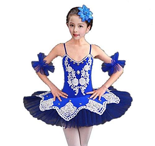 ZYLL Niñas Danza Trajes Ballet Tutu Lago Ballet Blanco Rojo Azul Rosa,Blue,160CM