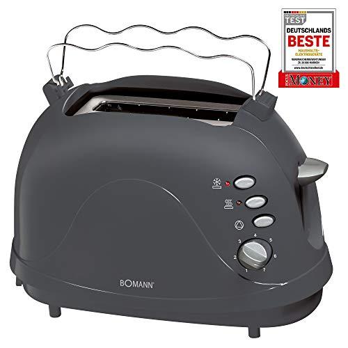 Bomann TA 246 CB, kompakter 2-Scheiben Toaster, Auftaufunktion, Aufwärmfunktion, Schnellstoppfunktion, Cool-Touch Gehäuse, grau
