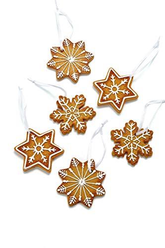 HEITMANN DECO Christbaumschmuck Lebkuchen mit Zuckerguss - Sterne Schneekristalle Weihnachtsdeko - 6-teilig