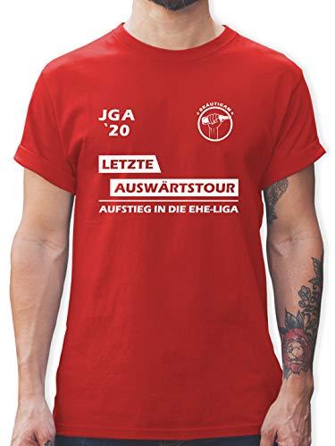 JGA Junggesellenabschied Männer - JGA 2020 Letzte Auswärtstour Bräutigam - XL - Rot - JGA auswärtstour männer - L190 - Tshirt Herren und Männer T-Shirts
