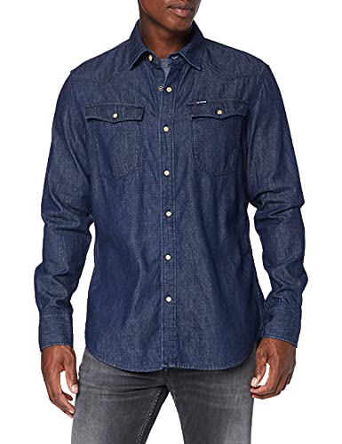 G-Star Raw 3301 Slim Shirt, Schwarz (Rinsed D013-82), Large para Hombre