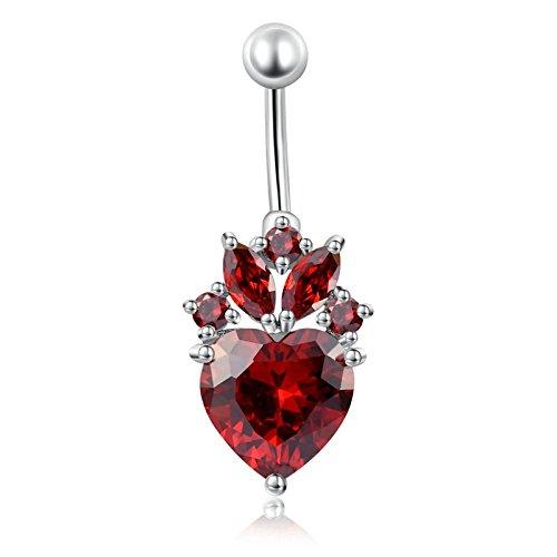 Daesar Körper Bauchnabelpiercing aus Edelstahl Chirurgenstahl 316L Herz Blume Rot Zirkonia Bauchnabel Nabelpiercing Bauch Ring Silber
