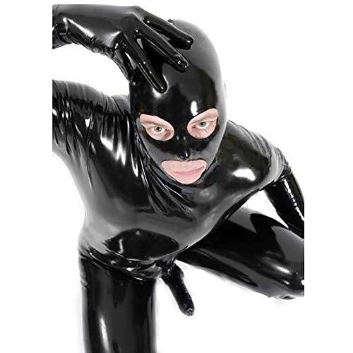 Herren Sexy Lack Leder Dessous Kostüm Erotische Kleidung Latex Catsuit PVC Body Overall fur Clubwear Schrittreiß Verschluss,XL