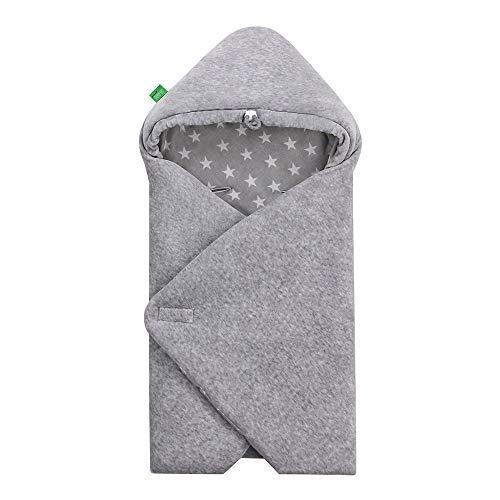 LULANDO Velours-Einschlagdecke YETI für Babyschale, 75 x 75 cm, Schlummersack für Babys, kinderfreundlich, für Jungen und Mädchen, Schutz für Babyschale und für Kindersitz (Grey - White Stars / Grey)