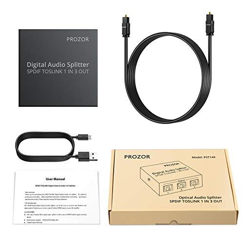 Prozor Répartiteur Audio numérique 5.1 canaux 1 x 3 SPDIF Toslink Splitter Support LPCM 2.0/DTS/Dolby-AC3 avec câble Toslink pour PS3 STB VHS VCR Blue-Ray Lecteur DVD HDTV Amplificateur de Puissance