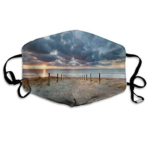 Atmungsaktive Premium Gesichtsschutzhülle,Seaside Walking North Holland Niederlande Romantischer Sonnenuntergang Frauen Männer Anti Wind Staubschutz Schutzhülle Für Skifahren Camping Reisesicherheit