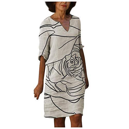 Generic Damen Kleid Sommerkleider V-Ausschnitt Freizeitkleider Knielang Kleid Retro Style Print Shirt Leinenkleid Blusenkleid Elegante Kleid Strandkleid Tuchkleid Maxikleid