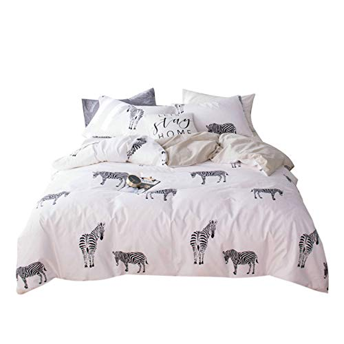 OTOB Kawaii Zebra Twin Bed Set Cotton 100 Duvet Cover for Girls Kids Baby Toddler Crib, 3 Pieces Teen Bedding Sets with 1 Comforter Cover 2 Pillowcases