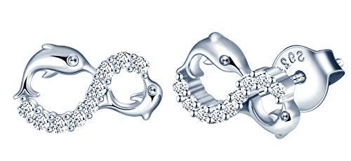 INFINIONLY Pendientes para mujer, juegos de joyas de plata esterlina 925, pendientes símbolo de infinito y delfín lindo, incrustación de zirconia, plata, Regalos de cumpleaños y Navidad