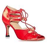 SWDZM Zapatos de Baile Latino para Mujer Salsa Tango Bachata Vals Zapatos de Baile de Salón,Tacón-8.3cm,Modello-7141, Rojo,38EU