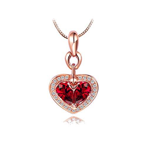 SonMo - Collar de Oro Rosa de 18 Quilates para Mujer, con Forma de corazón, Oro Rosa 750, Cadena de Oro Rojo, pera rubí con Diamante Blanco Redondo y Colgante