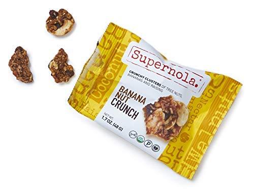 Supernola Organic Vegan Paleo Crunchy Clusters Grab & Go Snack Packs Bar Plant Protein (Banana Nut Crunch - like Banana Bread - Bananas, Cashews, Walnuts, & Coconut), 1.7 Oz Bag (Pack of 12)