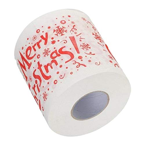 Flameer Christmas Toilet Paper Roll - Funny Novelty Gag Gift - 2 Ply Toilet Tissue 250, Full-Color Image Sheets in Each Roll | Merry Christmas