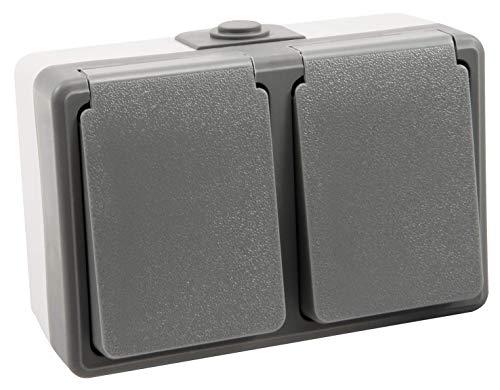 MC POWER - Aufputz Feuchtraum-Doppelsteckdose | SECURE | grau, IP44