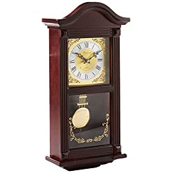 Bedford Clock Collection Small Wood Wall Clock with Brass Pendulum and 4 Chimes, 22 Inch, Mahogany Cherry Oak