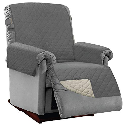 SOFA SHIELD Original Patent Pending Reversible Large Recliner Protector, Seat Width to 28 Inch, Furniture Slipcover, 2 Inch Strap, Reclining Chair Slip Cover Throw for Pet Dog, Recliner Charcoal Linen