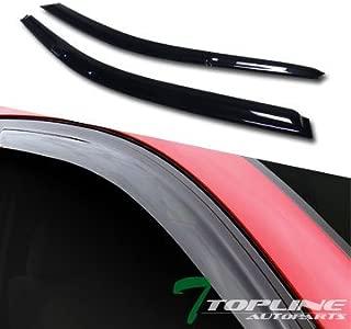 Topline Autopart Smoke Window Visors Deflector Vent Shade Guard 2 Pieces For 92-95 Honda Civic 2 Door Coupe / 3 Door Hatchback EG EG6